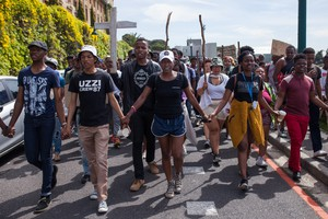 Photo of protesters at UCT on 4 October 2016