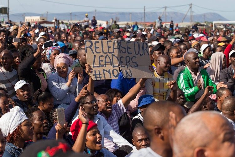 Photo of Zwelihle residents attending address by Bheki Cele