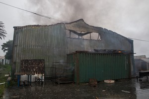Photo of burnt warehouse