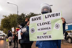 Protest to keep schools closed during Covid peak