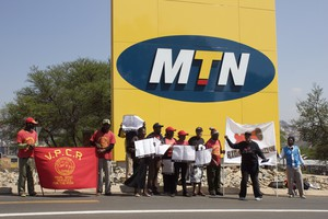 Photo of picketers outside MTN