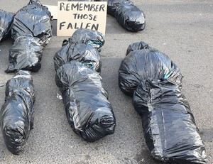 Photo of black bags made to look like body bags