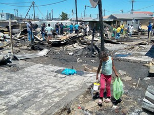 Photo of burnt shacks