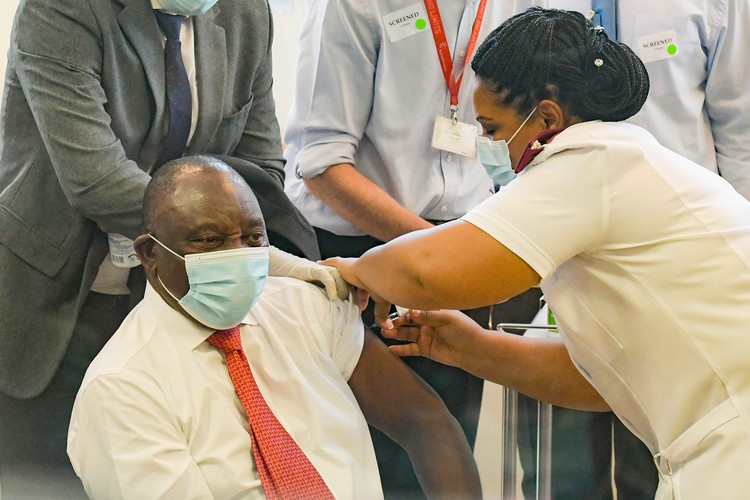 South African President Cyril Ramaphosa receives his vaccinations at the Khayelitsha Hospital in Cape Town, South Africa. - Jeffrey Abrahams